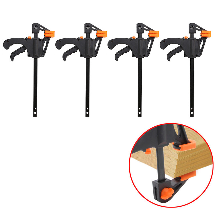 "4PCS 4"" Wood Working Bar F Clamp Grip Ratchet Release Squeeze"
