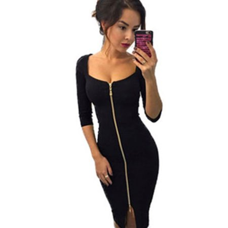 Metallic Bodycon Dress (Womens Deep V Neck Bodycon Front Zip Cocktail Ladies Party Pencil Midi Dress)