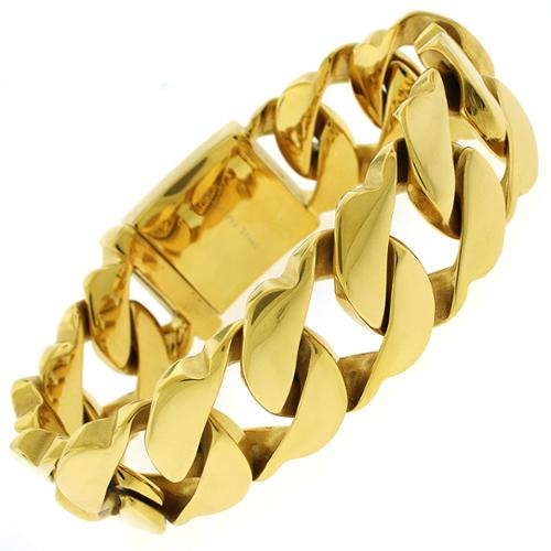Yellow Goldplated Stainless Steel Men's Thick 8.5-inch Cuban Bracelet