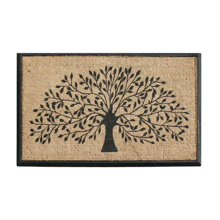 First Impressions Hand-Crafted Rubber Coir Tree Double Door Mat - 30