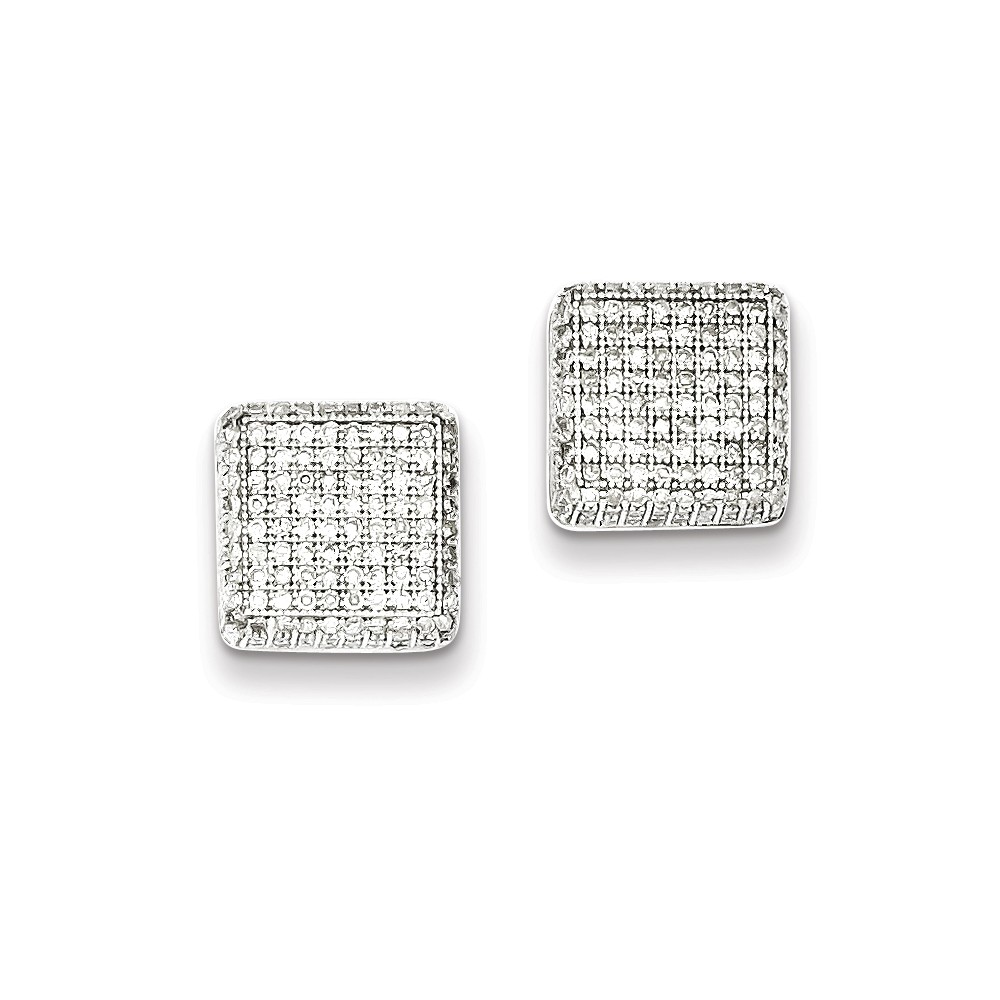 Sterling Silver Rhodium Plated Diamond Square Post Earrings. Carat Wt- 1ct (0.4IN x 0.4IN )