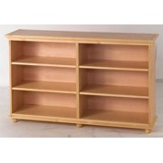 Low 6 Shelf Kids Bookcase w Crown & Base in Natural