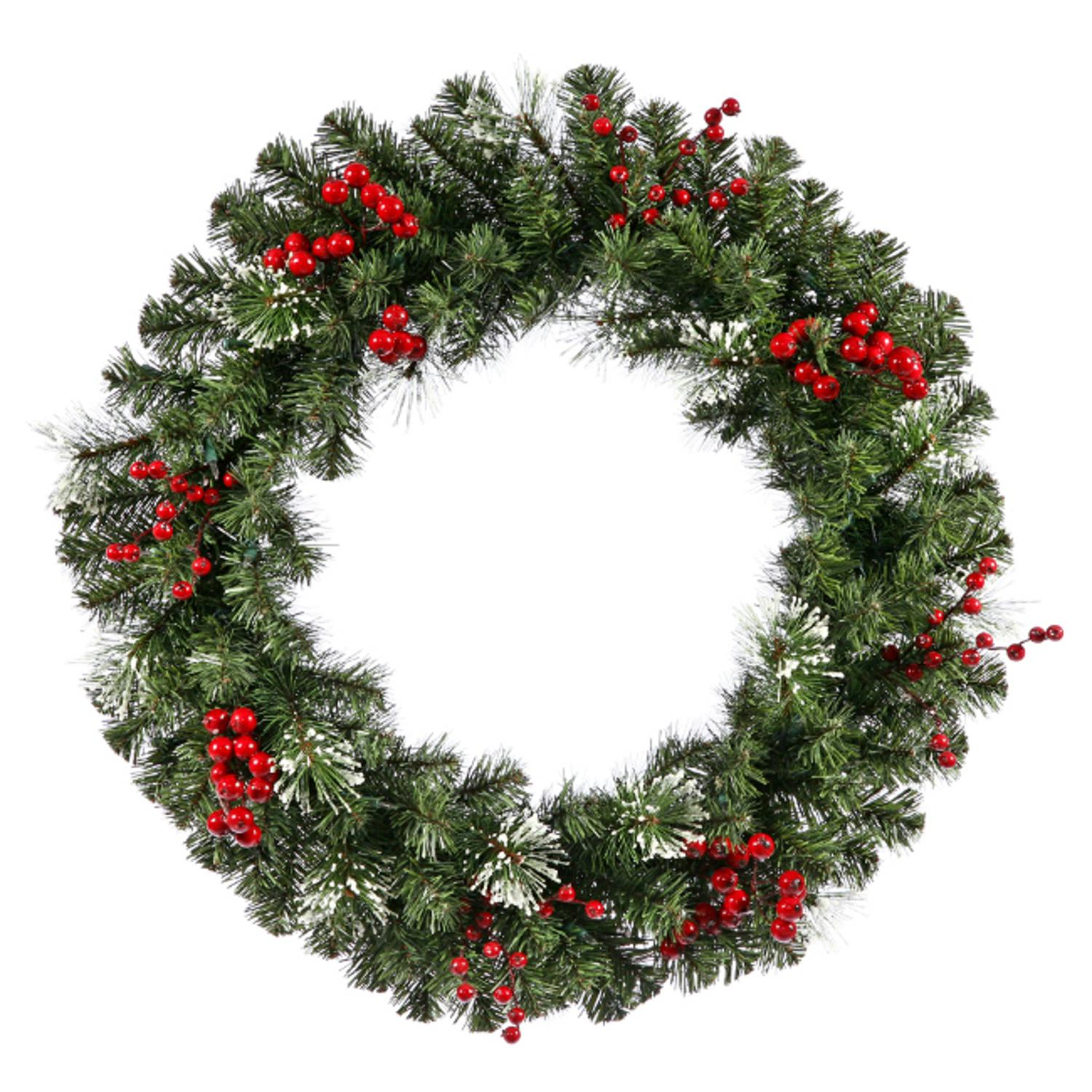 "30"" Siegal Berry Pine w/ Holly Berries Artificial Christmas Wreath - Unlit"