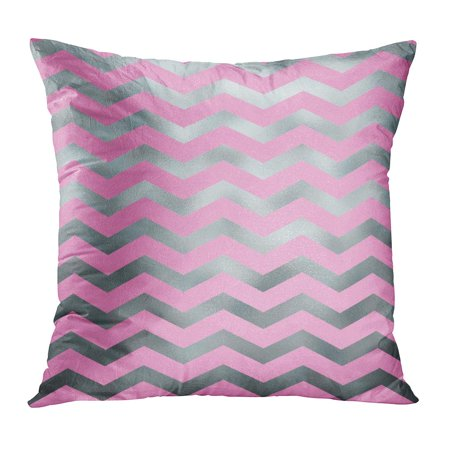 ECCOT Gray Stripes Silver and Pink Faux Foil Grey Metallic Chevron Pattern Zig Zag Classic Elegant Modern PillowCase Pillow Cover 18x18 inch