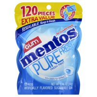 Mentos Pure Fresh Gum, Fresh Mint, Sugar Free, 120 Piece Bag