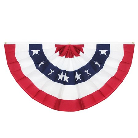 USA Pleated Fan Flag, 3x6 Feet American US Bunting Flags Patriotic Stars & Stripes - Sharp Color and Fade Resistant - Canvas Header and Brass Grommets - United States 3 x 6 Feet Half Fan Banner