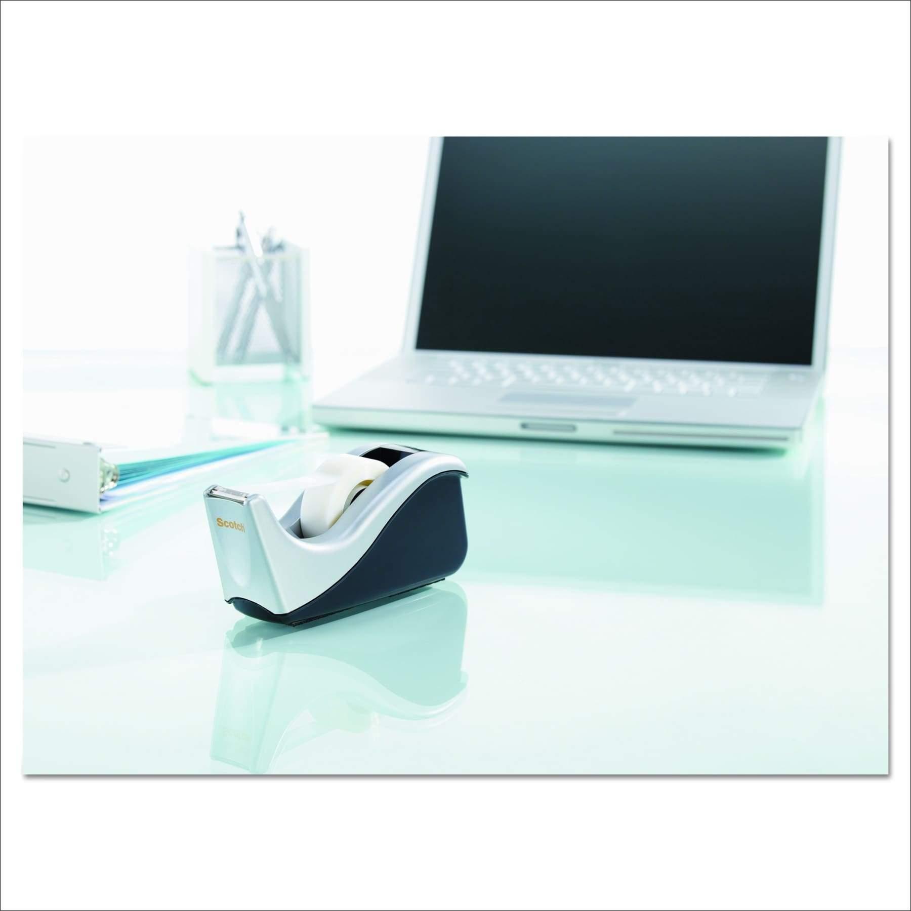 Black//Silver Two-Tone Scotch Desktop Tape Dispenser Silvertech C60-St 3 Pack