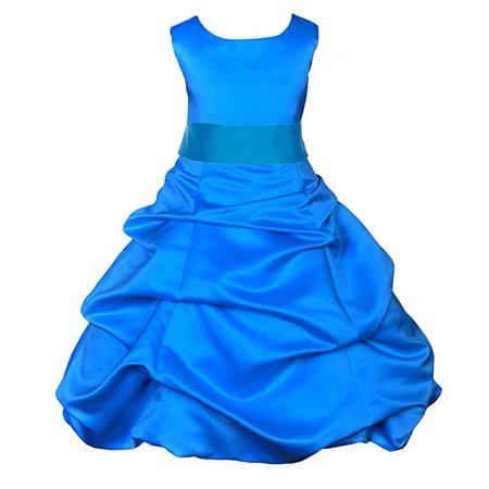 Ekidsbridal Matching Royal Blue Satin Pick-Up Bubble Flower Girl Dress Weddings Easter Dress Special Occasions Pageant Toddler Birthday Party Holiday Bridal Baptism Junior Bridesmaid Communion 806s