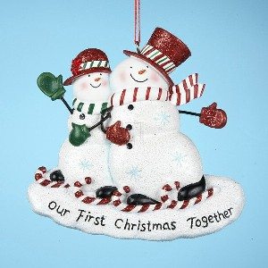"Resin ""Our First Christmas Together"" Snowcouple Ornament"