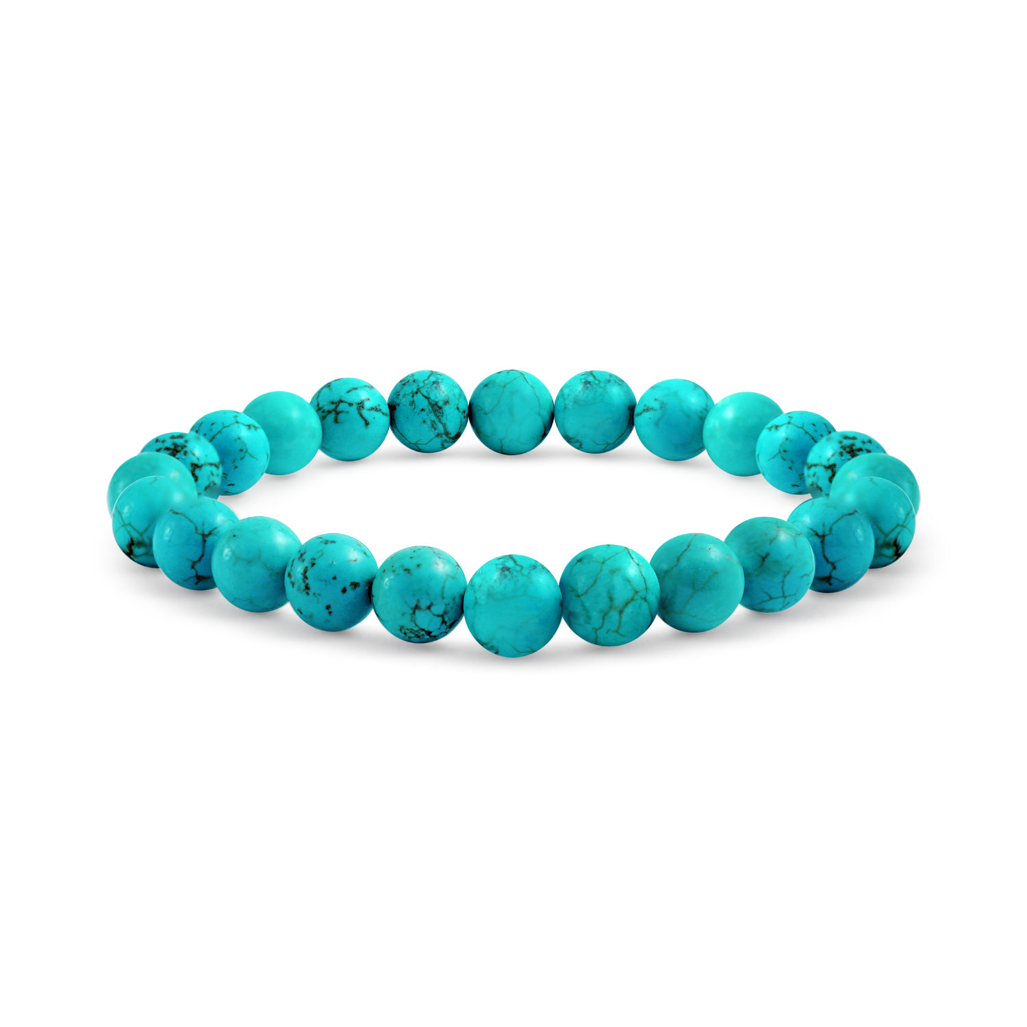 Enhanced Turquoise 8mm Ball Bead Stones Stackable Single Strand Stretch Bracelet For Women S