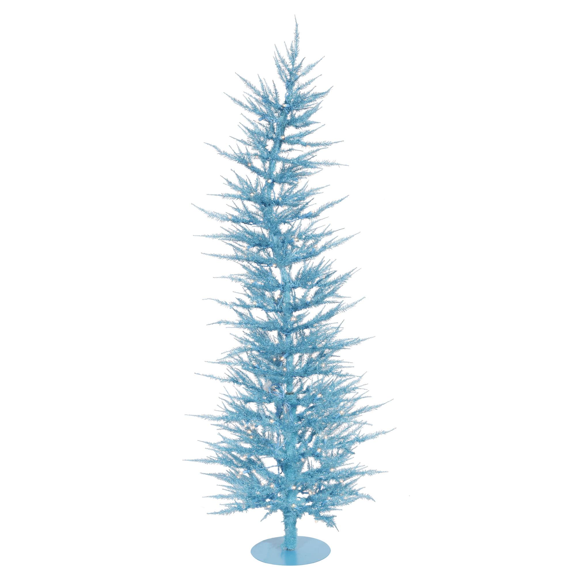 "Vickerman Artificial Christmas Tree 6' x 26"" Sky Blue Laser Tree Dura-lit 150 Teal Lights"