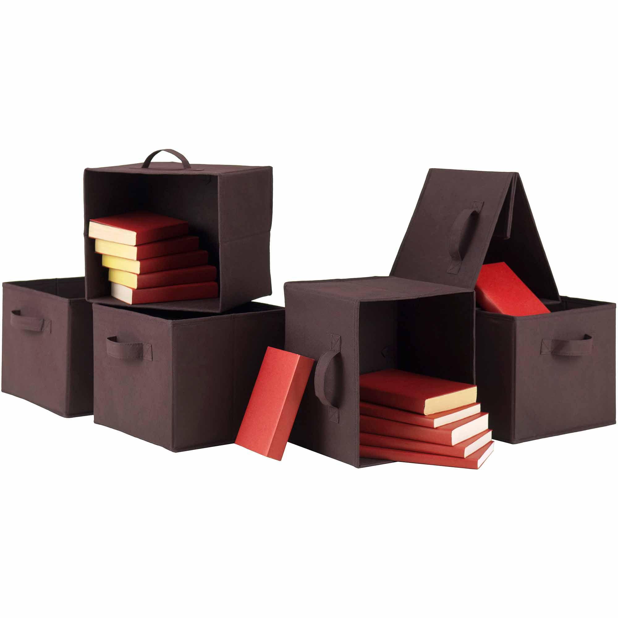 Foldable Fabric Baskets, Chocolate, Set of 6