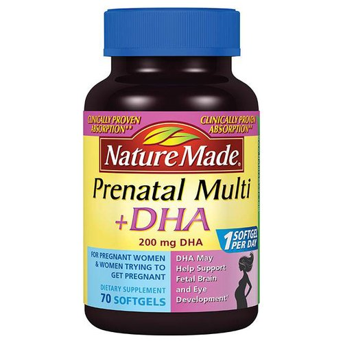 Nature Made Prenatal Multi + DHA Dietary Supplement Softgels, 70 count