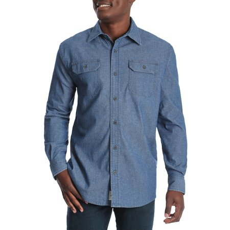 30bb822593 Men s and Big   Tall Long Sleeve Stretch Denim Shirt
