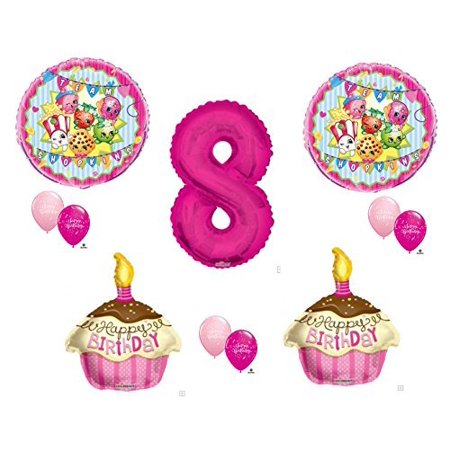 SHOPKINS 8th Eighth BIRTHDAY PARTY Balloons Decorations Supplies Cupcake Cookie](18th Party Decorations And Supplies)