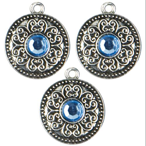 Jewelry Basics Metal Charms 3/Pkg-Silver Large Scroll