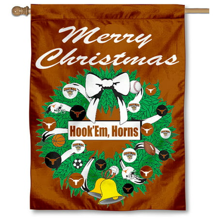 - University of Texas Longhorns Merry Christmas Banner Flag