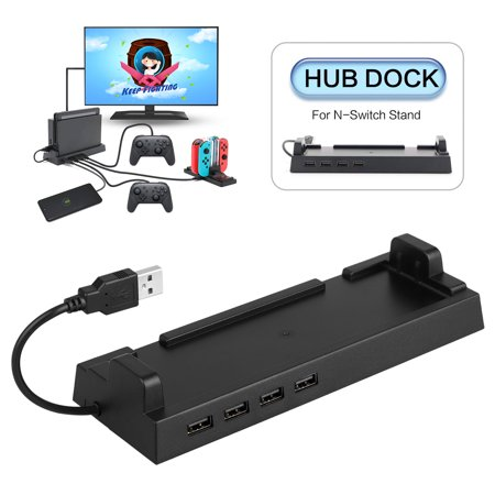 USB 2.0 4 Ports Hub Dock Stand Holder for Nintendo Switch PC Laptop Mac