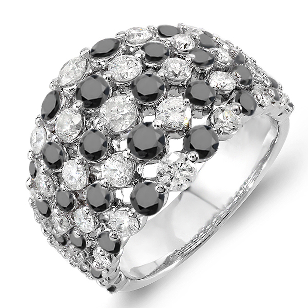 3.25 Carat (ctw) 14k White Gold Real Round White & Black Diamond Ladies Cocktail Right Hand Ring 3 1/4 CT