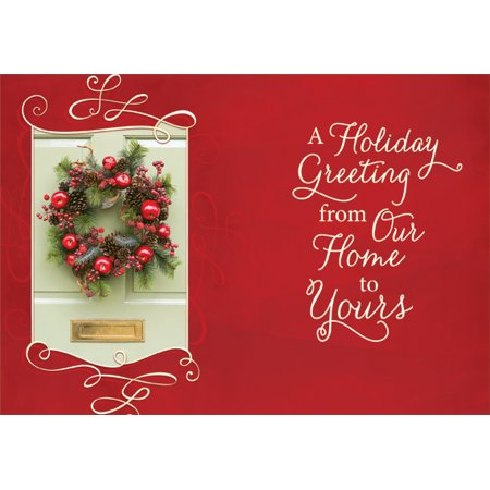 Designer Greetings Wreath on Door Box of 18 Christmas (Doom Card)