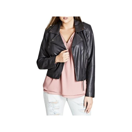 City Chic Womens Plus Fall Faux Leather Motorcycle Jacket Gray (Get Smoke Smell Out Of Leather Jacket)