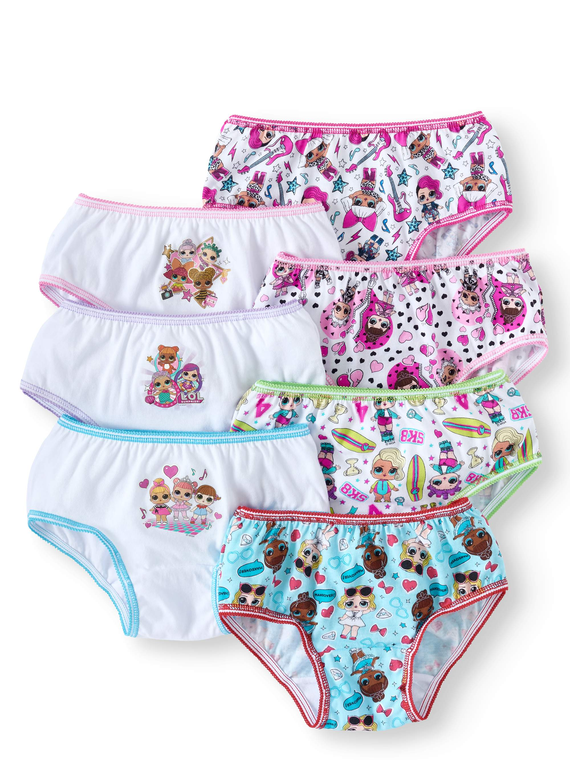L.O.L. Surprise! Girls Underwear, 7 Pack Brief Panties Sizes 4 - 8