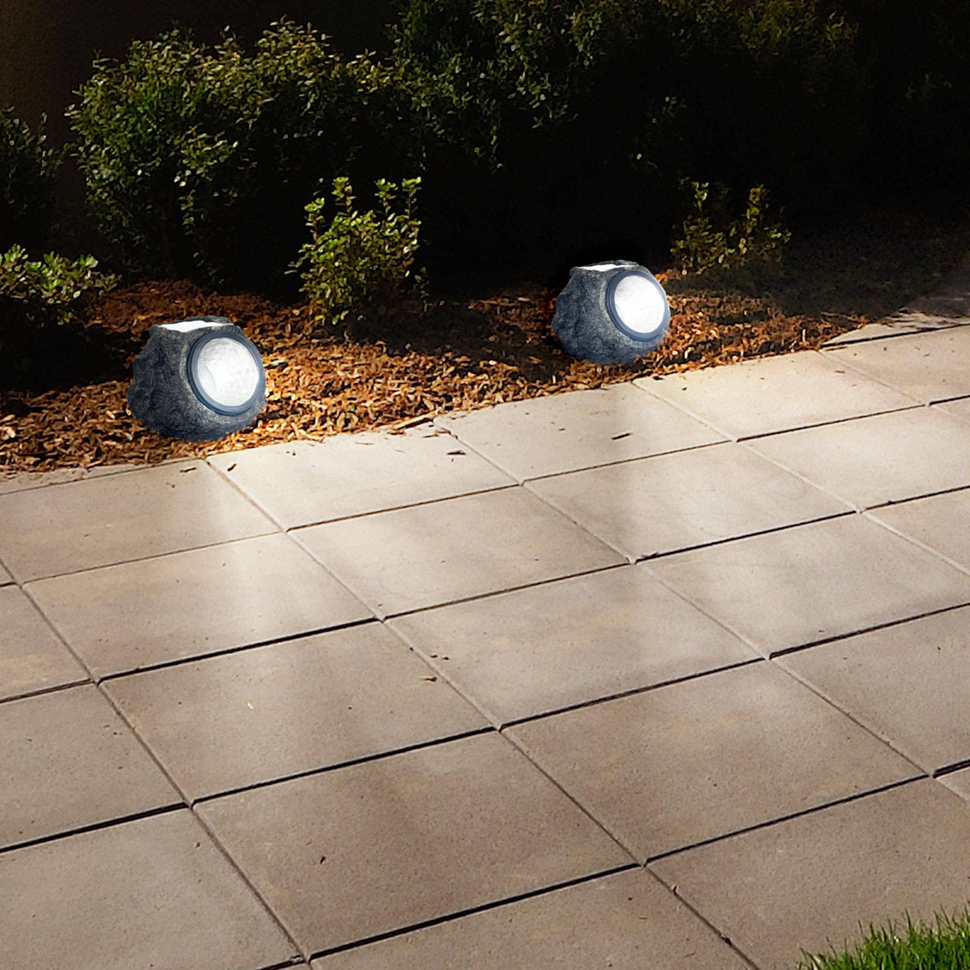 Solar Powered Rock Lights (Set Of Four)  Low Voltage LED Outdoor Stone  Spotlight Fixture For Gardens, Pathways, And Patios By Pure Garden    Walmart.com
