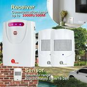 1byone 1000ft Wireless Driveway Alarm Alert System, 1 Receiver & 2 PIR Motion Sensor Detector Weatherproof for Home Security
