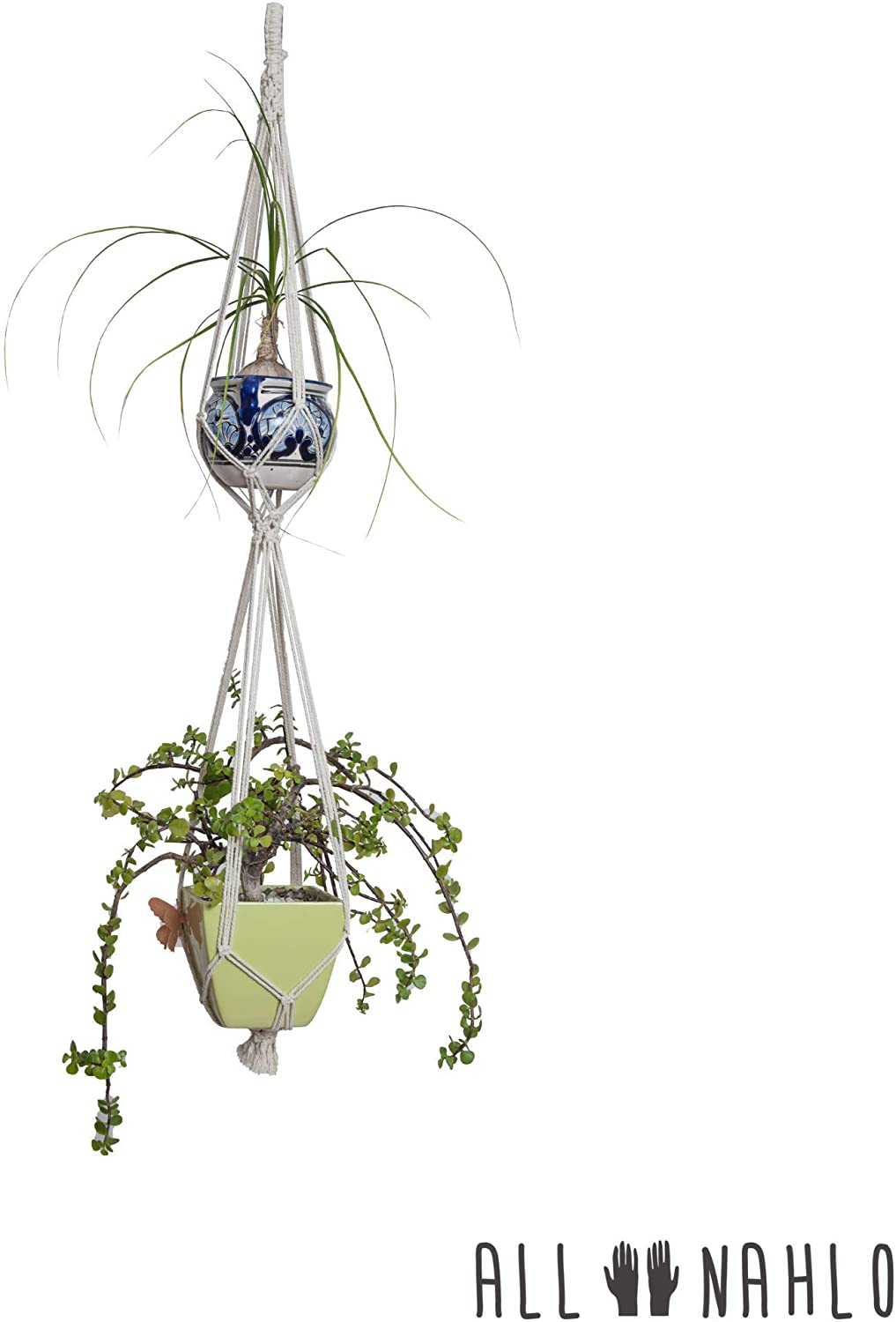 The Leticia Double Macrame Plant Hanger 1 Unit By All Nahlo Indoor Outdoor Hanging Planter Basket Cotton Rope Walmart Com Walmart Com
