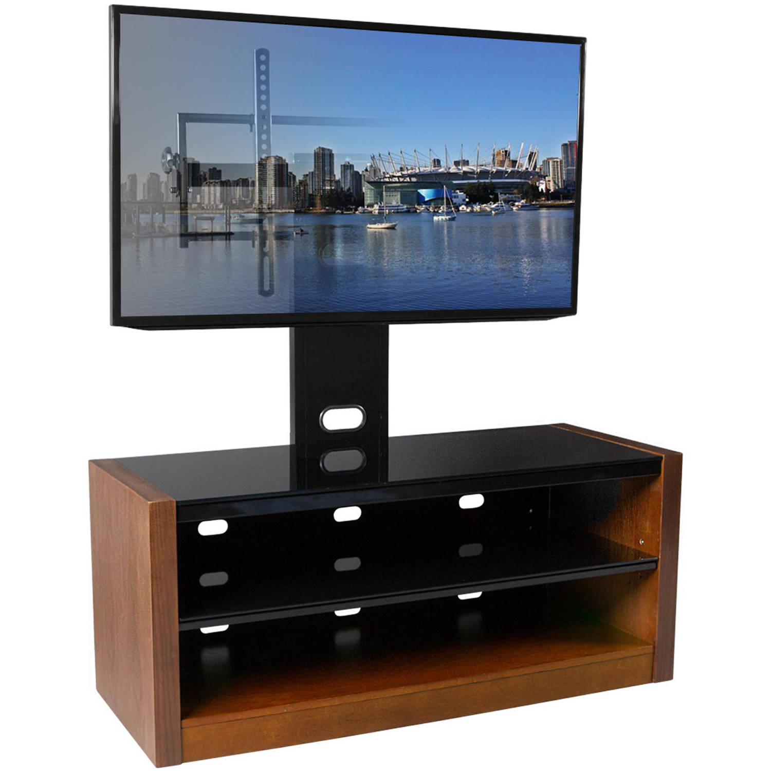 "Kanto MESA 46 Plus TV Stand with Tilt and Swivel Mount for Displays up to 80"", Walnut"