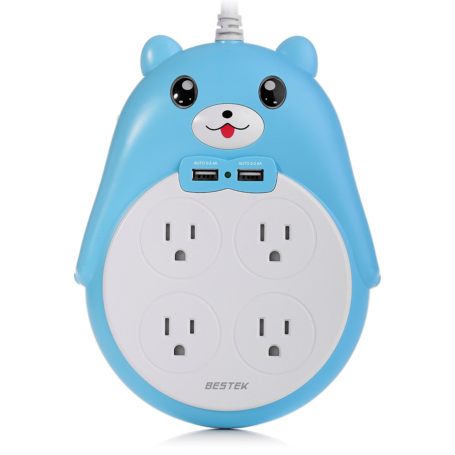 BESTEK Surge Protector Power Strip with USB for Girls, Cute Little Bear Power Outlet with 4-Outlet 2 USB 5.9-Foot Cord in Dorm or Bedroom, 1875W & 900Joule