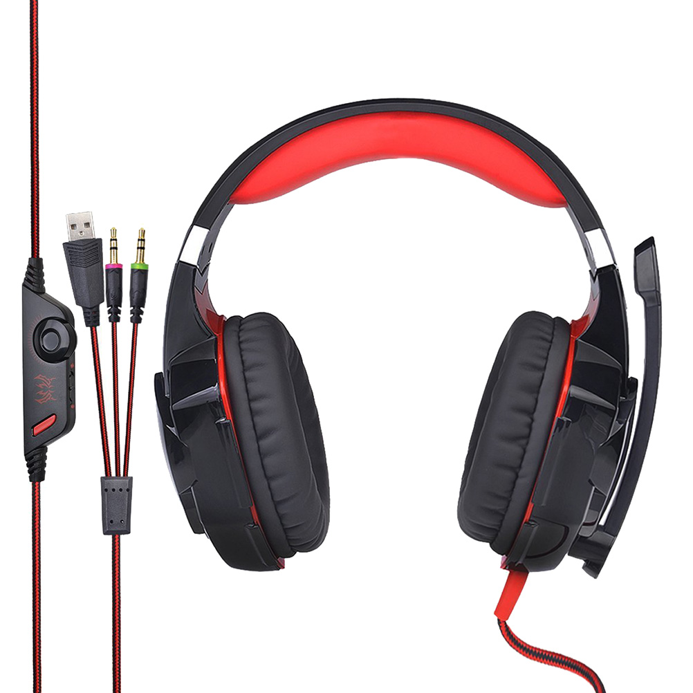 G2000 Breathing LED Light Deep Bass Game Headphone Stereo Surrounded Sound Headset Noise Cancelling Over-Ear Gaming Headset With LED Light MIC for Computer PC Gamer (Red)