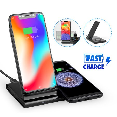 EEEKit for Samsung Smartwatch Stand Charger, Wireless Magnetic Fast Charging Dock Phone Charging Pad for Galaxy Buds, Gear S3, Galaxy Watch Active, iPhone Xs Max/Xs/Xr/X/8/8 Plus, More