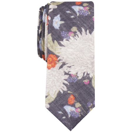 Image of Mens Neck Tie One Berwick Floral Print Skinny Wool Not Applicable