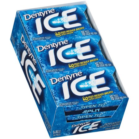 Dentyne Ice Sugar-Free Gum Peppermint 16 Piece - 9 Pack