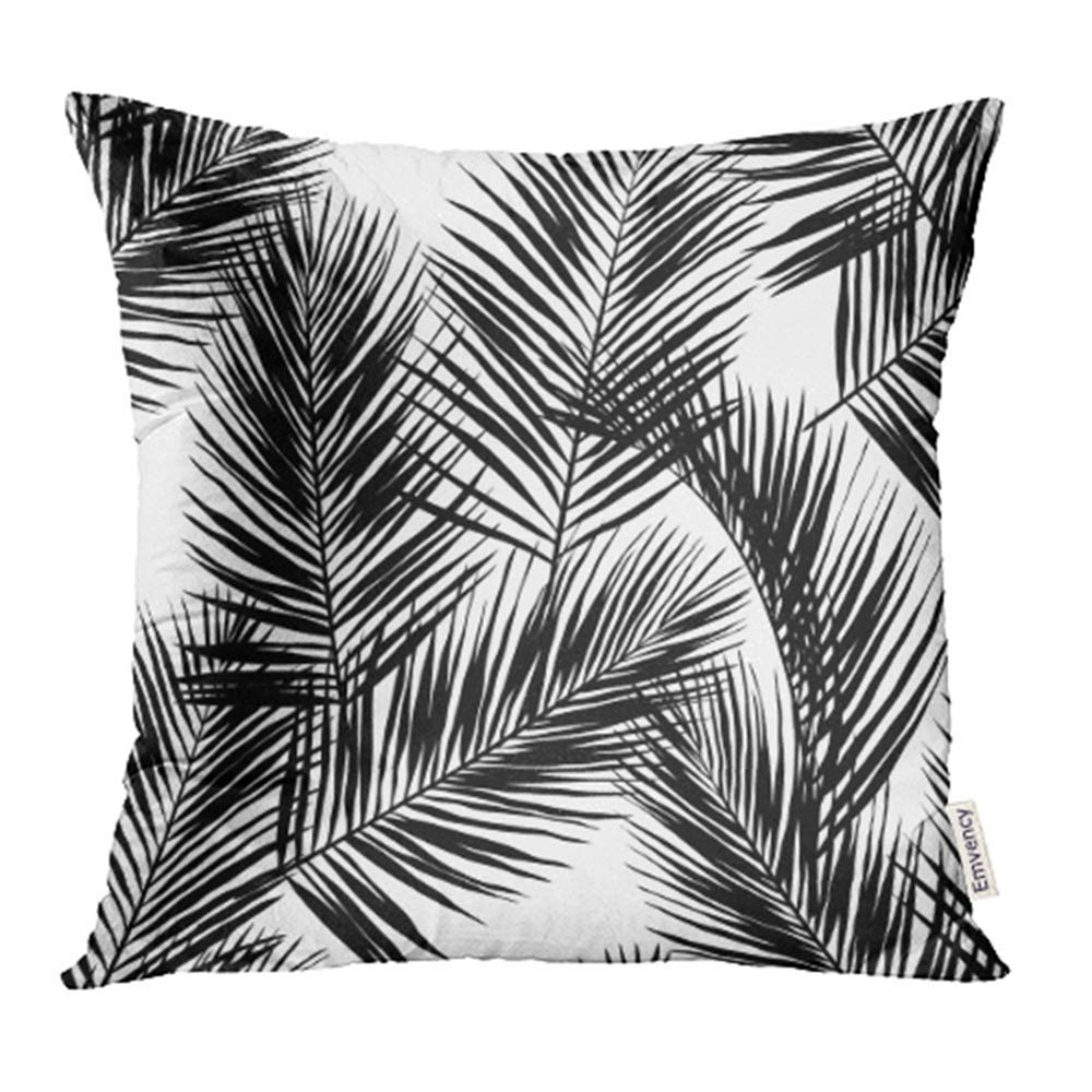 ARHOME Leaf Black Palm Leaves on White Perfect Giftwrap Tropical Silhouette  Drawing Pillow Case Pillow Cover 20x20 inch Throw Pillow Covers