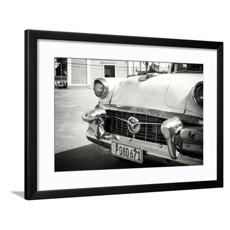 Classic Flame Santa - Cuba Fuerte Collection B&W - Detail of Classic Car in Santa Clara Framed Print Wall Art By Philippe Hugonnard