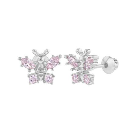 Small Butterfly Earrings - 925 Sterling Silver Pink CZ Small Butterfly Screw Back Earrings for Kids Girls