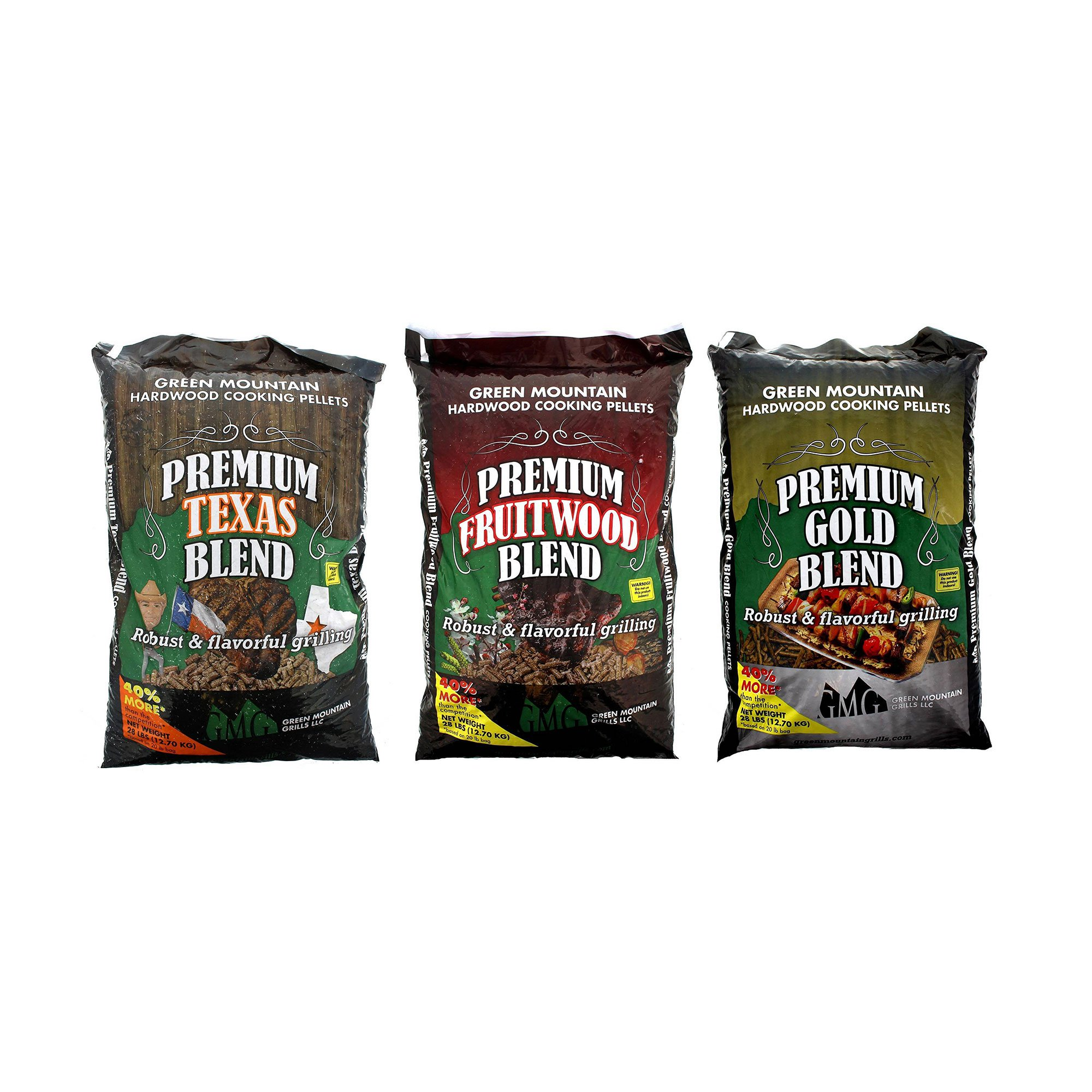 Green Mountain Grills Premium Gold, Texas, and Fruitwood Hardwood Grill Pellets