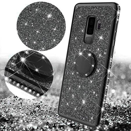Galaxy S9 Case, Cute Glitter Ring Stand Phone Case with Kickstand, Bling Diamond Rhinestone Bumper Ring Stand Sparkly Luxury Clear Thin Soft Protective Samsung Galaxy S9 Case for Girls Women - Black - image 4 of 6