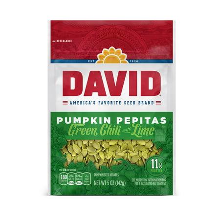 DAVID Green Chili with Lime Pumpkin Pepitas Seeds 5-oz. Resealable