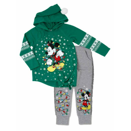 Disney Infant & Toddler Girls Green Holiday Mickey Mouse Hoodie & Sweats (Oshkosh Girls Green)
