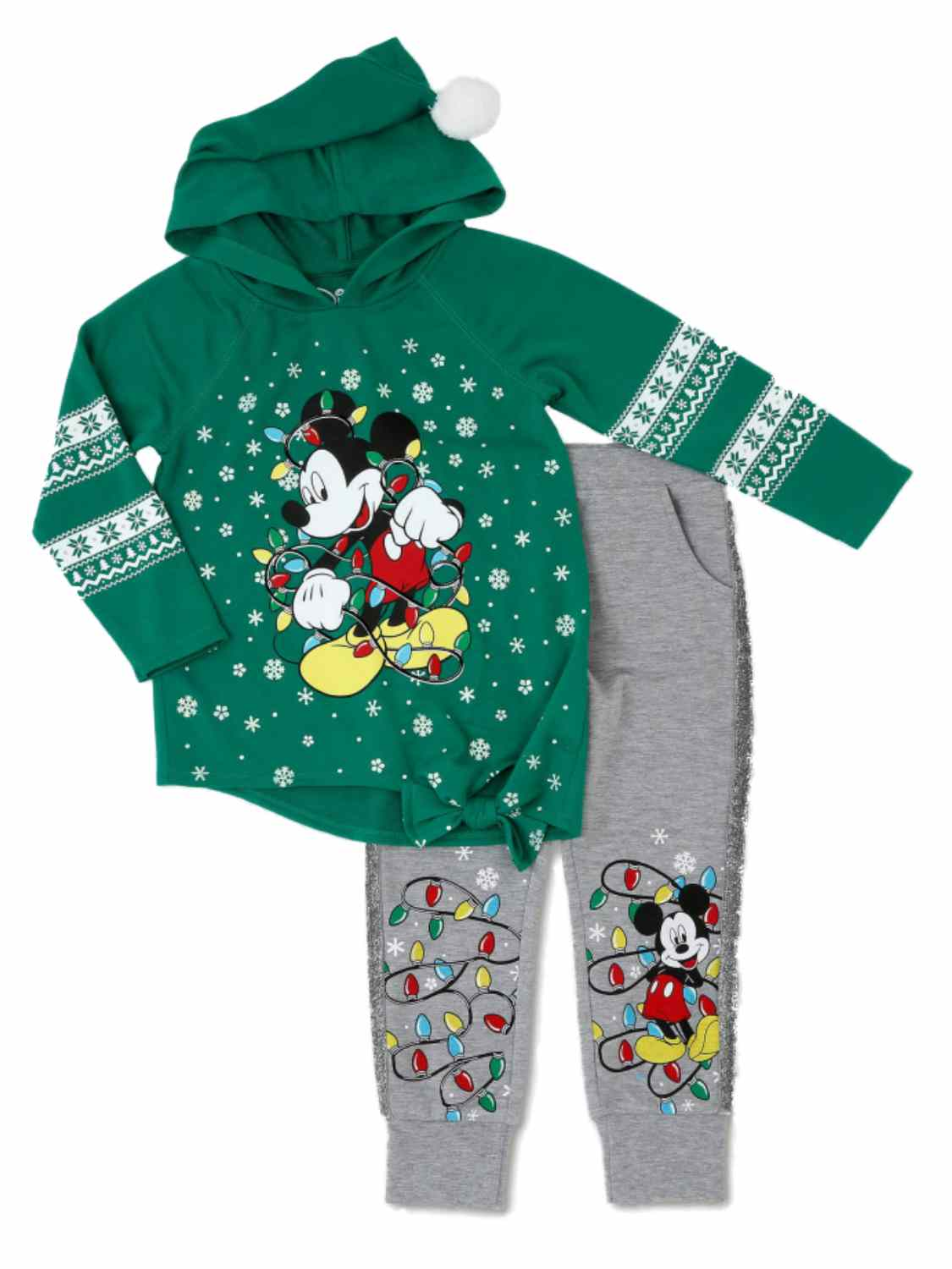 Disney Infant & Toddler Girls Green Holiday Mickey Mouse Hoodie & Sweats Set