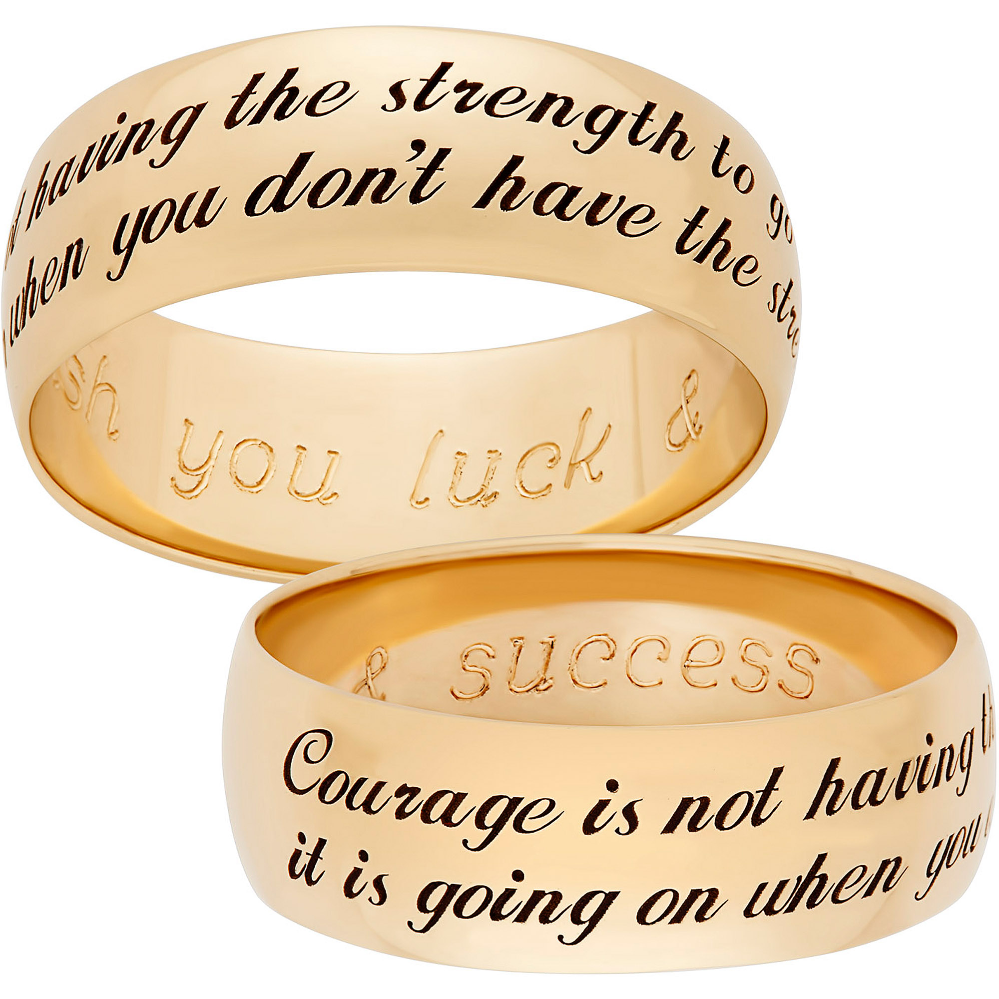 "Personalized Gold over Sterling Silver Sweet Sentiments ""Courage"" 7mm Band"