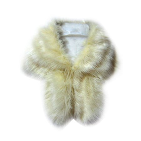 Nicesee Women Faux Fox Fur Shawl Stole Wrap Shrug Scarf
