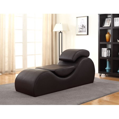 US Pride Furniture Aiden Brown Faux Leather Yoga Stretch Relaxation Chaise
