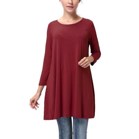 89fbb45e251 SAYFUT - SAYFUT Juniors  Plus Size Irregular Hem 3 4 Sleeve Shirts Round Neck  Blouse T-shirt for Women Loose Fit Casual Top Ten Color Size S-3XL -  Walmart. ...