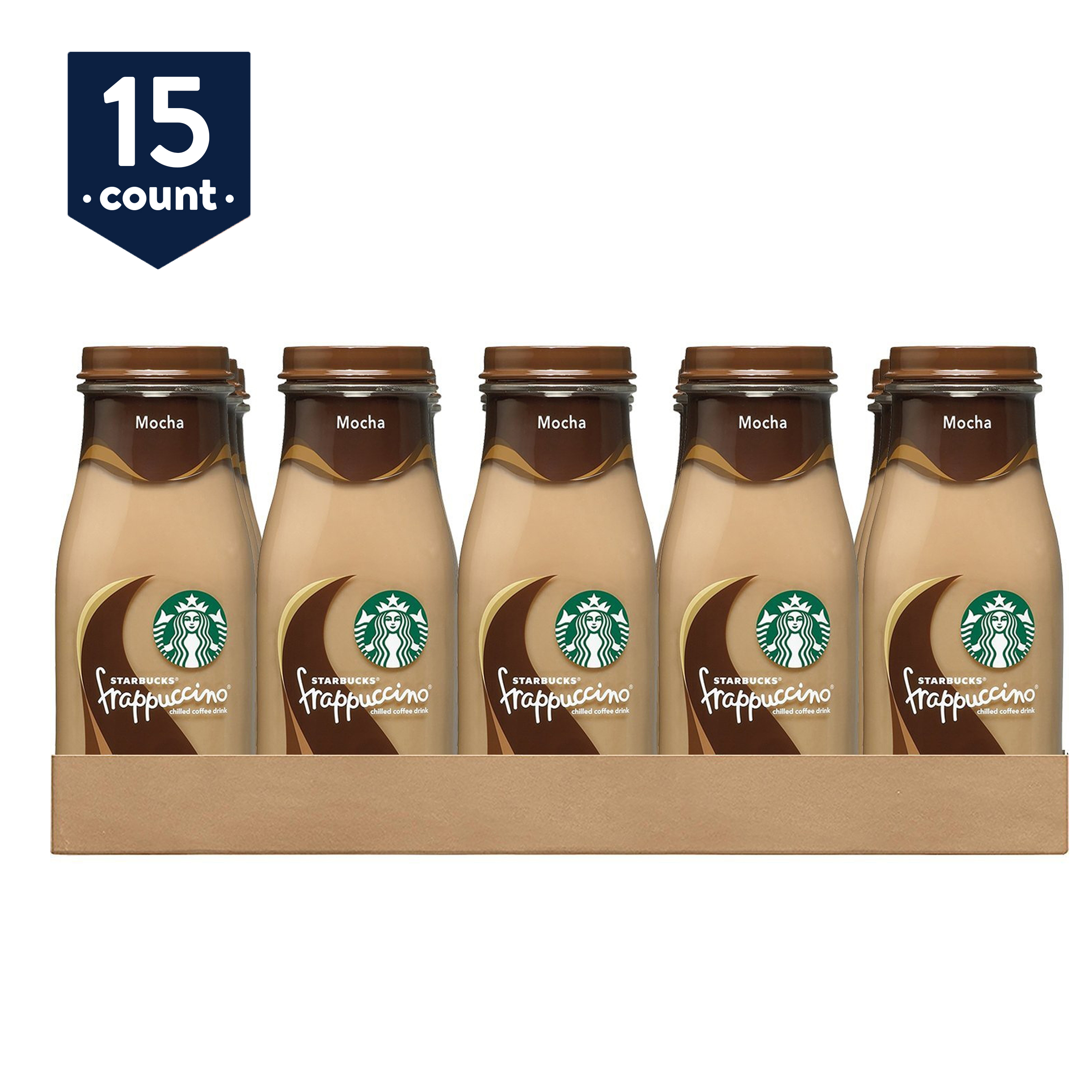 (15 Bottles) Starbucks Frappuccino Coffee Drink, Mocha, 9.5 oz Glass Bottles