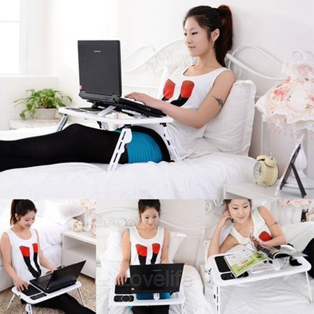 Folding Laptop Notebook Table Stand Tray Laptop Tray Desk With USB Cooling Fans For Sofa Bed Carpet Lawn - image 2 de 10