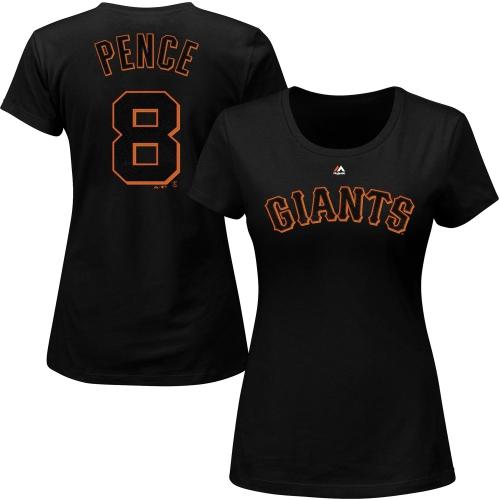 Hunter Pence San Francisco Giants Majestic Women's Name & Number T-Shirt - Black